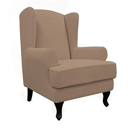 Easy-Going Stretch Wingback Chair Sofa Slipcover 2-Piece Sofa Cover Furniture Protector Couch Soft with Elastic Bottom, Spandex Jacquard Fabric Small Checks, Camel