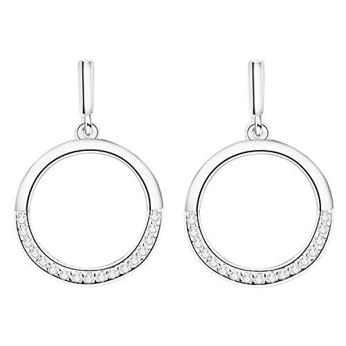 MYA art Damen Ohrstecker 925 Silber mit Kristall Swarovski Elements Strass Stein Ohrringe Hängend Stab Kreis Ring Offen Rund Anhänger Modern