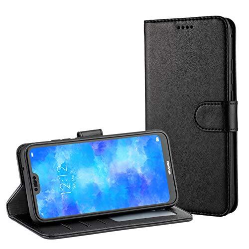 TAMOWA Handyhülle für Huawei P20 Lite Hülle, Leder Flip Schutzhülle für Huawei P20 Lite Tasche (Kartenfach) (Standfunktion)(Magnetverschluss), Schwarz