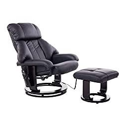 HOMCOM massage armchair TV armchair Armchair with stool Massage with heat function and vibration black