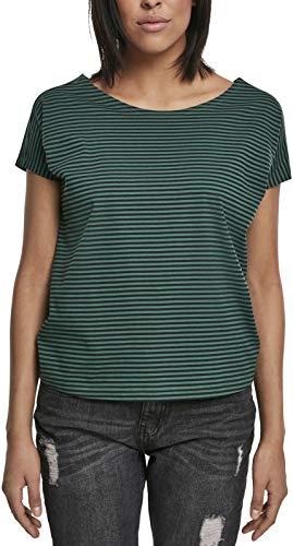 Urban Classics Ladies Yarn Dyed Baby Stripe tee Camiseta, Multicolor (Dark/Green/Black 02055), XS para Mujer
