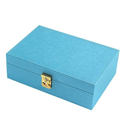 Titular de collar Organizador de la joyería caja - Mujeres Visualización dos capa de almacenamiento caso titular de la joyería grande de cuero de la PU con el pendiente de bloqueo for la pulsera colla