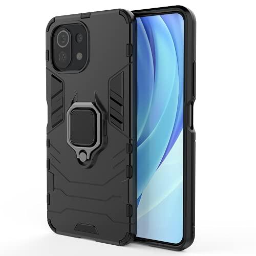 ALAMO Funda de Armor para el Xiaomi MI 11 Lite, Carcasa TPU+PC Antigolpes con Anillo Soporte - Negro