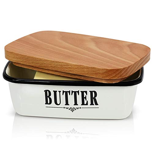 Granrosi Farmhouse Butter Dish - Beautiful Enamel Butter