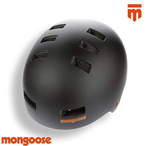 Mongoose BMX Scooter Skate Helmet MD BLK Casco, Negro, Medium-56-59cm
