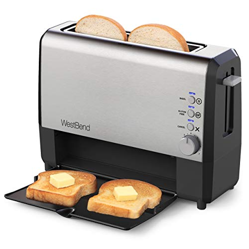 West Bend 77222 Quick Serve Wide Slot Toaster Bagel and Gluten-Free Settings with Cool Touch Exterior Includes Removable Serving Tray, 2-Slice, Silver