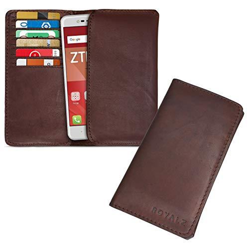 ROYALZ Lederhülle für ZTE Blade V8 Mini Schutztasche Cover Etui Brieftasche Portemonnaie Ledertasche Kartenfach Tasche Leder, Farbe:Dunkelbraun