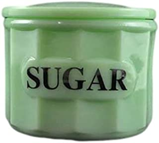 G3370JSU Jadeite Green Glass Panel Pattern Container Canister with Lid - Sugar