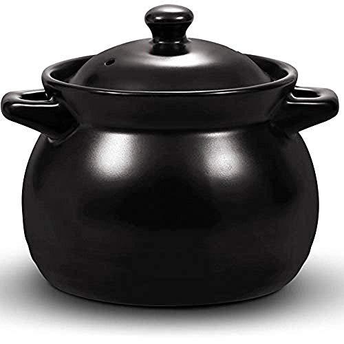 Cazuela de Barro Olla de Terracota Cazuela de cerámica - Almacenamiento de Calor y preservación del Calor, Alta eficiencia y Ahorro de energía, Capacidad Duradera 1L_Black
