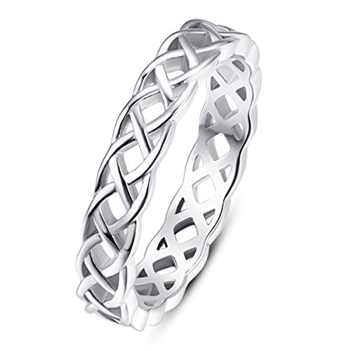 AVECON 4mm 925 Sterling Silver Eternity Celtic Knot Ring Stackable Wedding Bands for Women Men Size 6