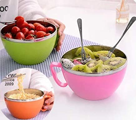 Any Kitchen Stainless Steel Microwave Safe and BPA-Free Noodles Bowl with Enclosed Handle Lid -Set of 2