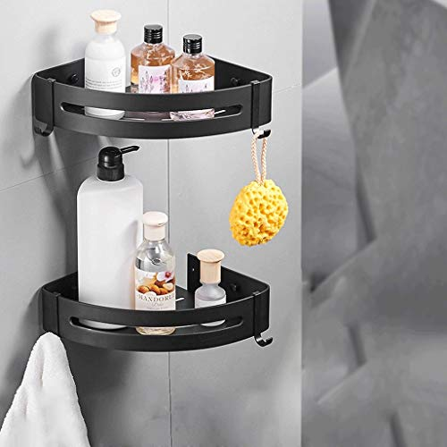 Bad hoekplank, Black Space aluminium wandbehang opslagplank, badkamer geen boren wandplank (grootte: 22,5 * 7 cm * 2 stuks) 22.5 * 7cm*2pcs