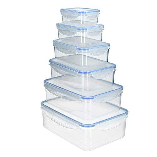 ORYX Juego Recipientes Cierres Hermeticos Plastico Rectangulares (6 Piezas)