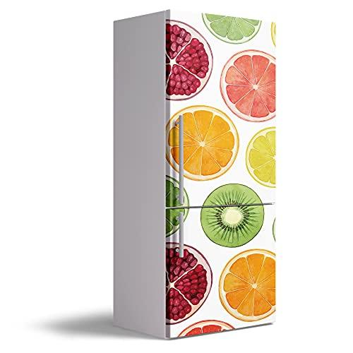 Vinilo Adhesivo Decorativo para Nevera, 60 x 185 cm, Varias Medidas, Impermeable y Resistente, Decoración para Muebles de Cocina, Frutas, VNL-N001