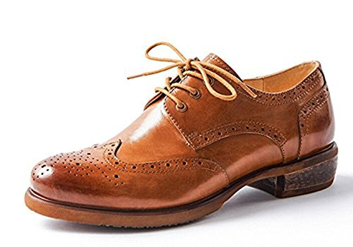 Oyangs Women Oxford leather shoes E208 (8 B(M) US, A)