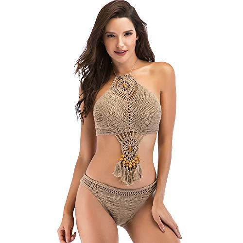 Shangrui Traje de baño de Playa de Bikini de Playa de Bikini Recortado de Ganchillo para Mujer