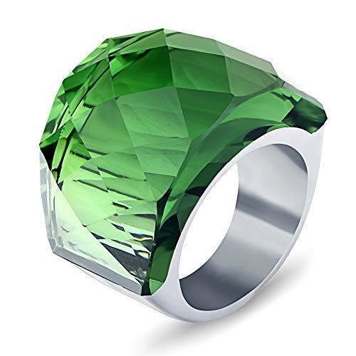 BVGA Anillo retro para hombre y mujer, de acero de titanio noble con incrustaciones de piedras preciosas n.º 7, anillo verde para mujeres, niñas, hermanas, amigas, regalo significativo de joyería
