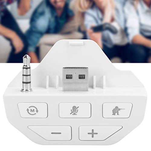 Emoshayoga Adaptador de Auriculares Duradero Gamepad Adaptador de Audio Gamepad para Xbox One(White)