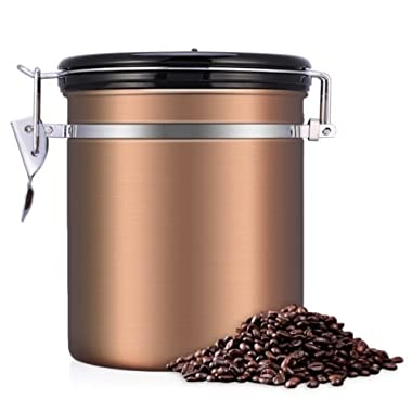 1.5L Stainless Steel Coffee Bean Storage Container Canister CO2 Valve Free Scoop Rose Gold Color
