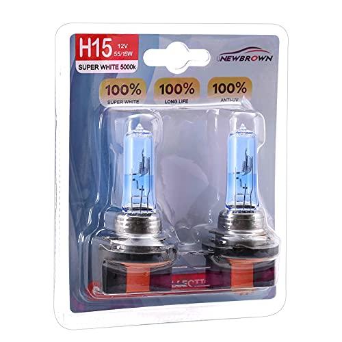 H15 Headlight Bulbs with 40% Super White light, 12V 15/55W PGJ23T1 4000k Halogen Lamp, Long Life Waterproof Car Halogen Light Bulb, 2 Pack