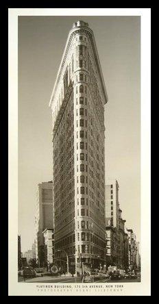 Germanposters Henri Plata Muñeco Flatiron Building Póster De Impresión De Imagen en el Marco de Aluminio en Negro