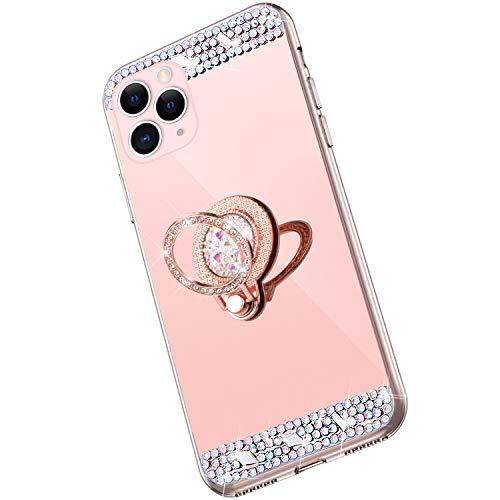 Saceebe Compatible avec iPhone 11 Pro Coque Brillante Diamant Paillette Strass Etui Miroir Housse Glitter Bling Silicone TPU Housse Anneau Support 360 Degrés de Rotation Bague,Or Rose