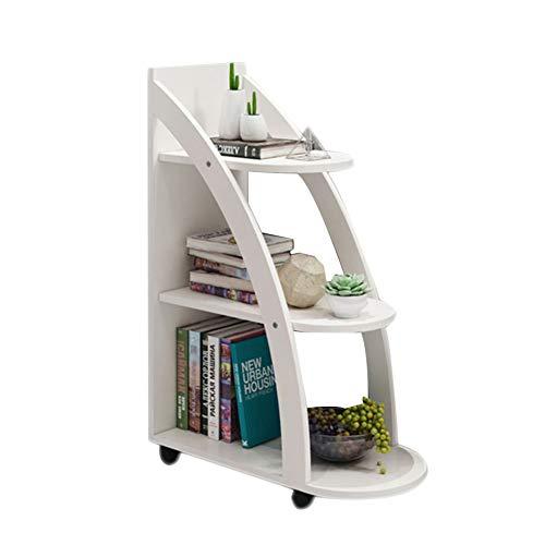 HM&DX Madera Librería con Ruedas de, 3-Tier Almacenaje Biblioteca Escalera VersÁtil Mesa de sofá Estante de exhibición para Salon Oficina Dormitorio -Blanco