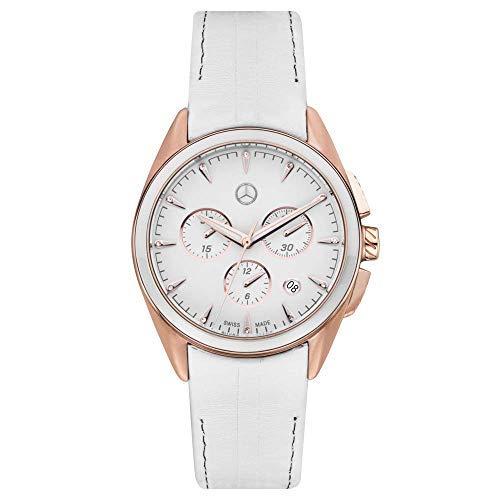 Mercedes Benz Original Reloj de Pulsera Mujer Cronógrafo Deportivo Fashion M 3' Blanco/Oro Rosa