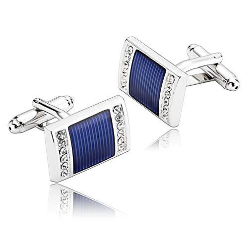 Ubestlove Hochzeitsgeschenk Männer Rechteck Manschettenknöpfe Taufgeschenke Jungen Personalisiert Silber Blau Gravur