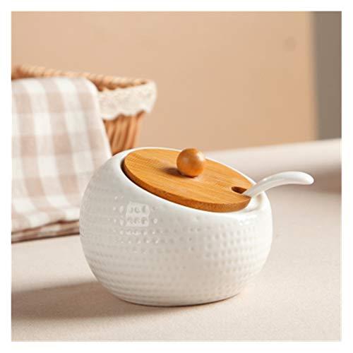 AFTWLKJ Condimento de cerámica Almacenamiento Tarro Doble Estableño Pot Bambú Bandeja Spice Jar Salsa de soja Caja Sal SAL AZÚCAR CAN HERRAMIENTAS DE ORGANIZADORES DE COCINA ( Color : One Piece )