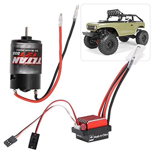 Dilwe ESC RC Brushed Motor, 360A Brushed Electronic Geschwindigkeitsregler + 550 Brushed Motor 1:10 RC Car Upgrade Ersatzteil(12T)