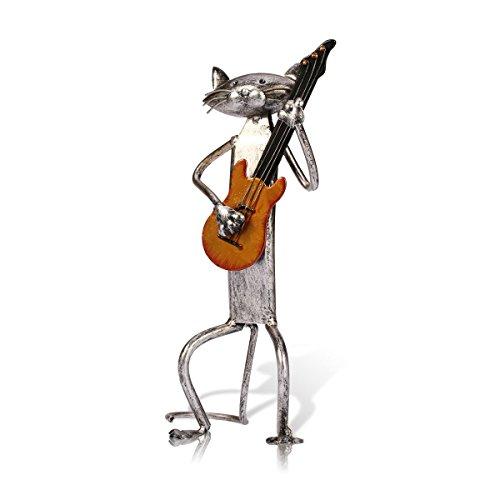 Tooarts Chat Sculpture en Métal Joue des Instruments Décoration Creative Artisanat d'Ameublement...
