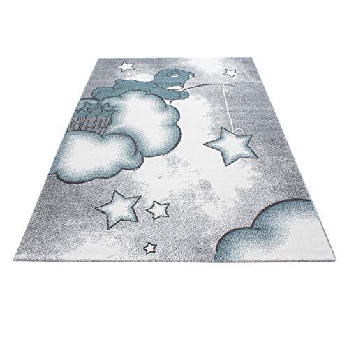 Kinderteppich Süße Bär mit Wolke Sterne Muster Kinderzimmer Babyzimmer Spielzimmer Teppich Rechteck Rund Grau Blau Weiß, Größe:120x170 cm