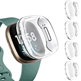 Upeak 4 Pack Funda Compatible con Fitbit Versa 3/Versa Sense Protector Pantalla, Estuche de...