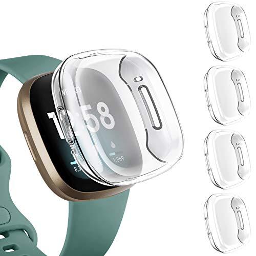 Upeak 4 Pezzi Custodia Cover Compatibile per Fitbit Versa 3/Versa Sense, Custodia a Copertura Totale in TPU per Fitbit Versa 3/Versa Sense, 4 Chiaro