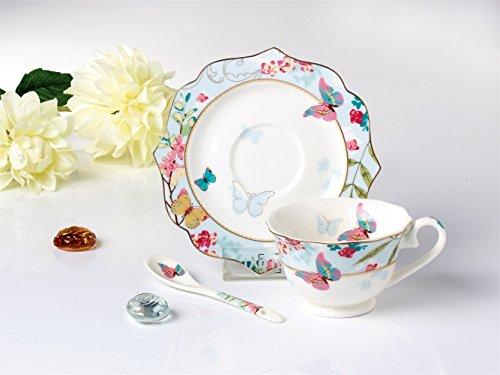 Famiworks fine Bone China tazza e piattino e cucchiaio set, Great design con farfalle e fiori di ciliegio, 170ml