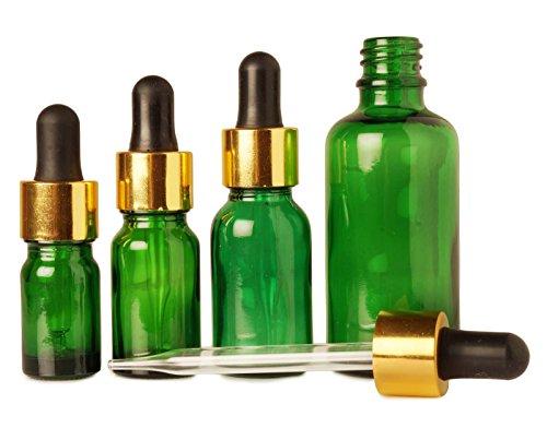 Boston bouteille ronde bouteilles en verre en gros 10 ml verts huiles essentielles rechargeables baisse de bouteilles vides pipette compte-gouttes beaucoup flacon de 6