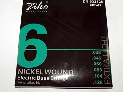 Juego de 6 cuerdas para Bajo Eléctrico marca Ziko Modelo DN-032-128 calibre:032-128...