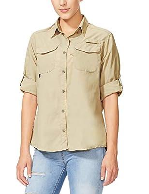 BALEAF Women's Hiking Long Sleeve Fishing Shirt UPF 50+ for Safari Camping Travelling Quick Dry Khaki L