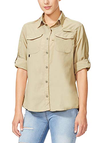 BALEAF Women's Hiking Long Sleeve Fishing Shirt UPF 50+ for Safari Camping Travelling Quick Dry Khaki M