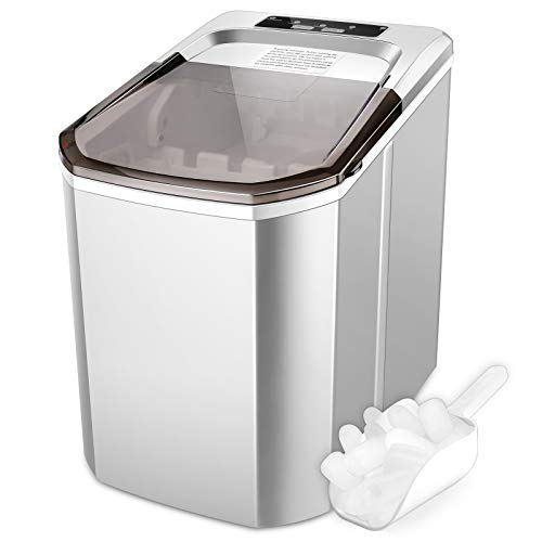 Nictemaw Ice Maker Machine Countertop, Portable Compact Ice Cube Makers, Make 26 lbs ice in 24 hrs,9 Cubes Rready in 5-6 Mins with Ice Scoop and Basket for Home/Office/Bar (Sliver)