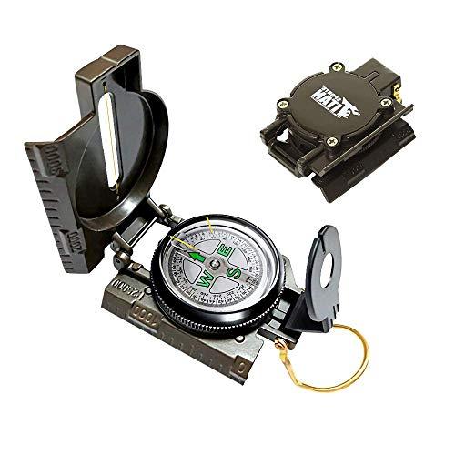 Mein HERZ Kompass Militär Marschkompass, Multifunktionaler Militärkompass, mit Fluoreszendem Leuchtzifferblatt, Kartenmaßstab, Neigungsmesser, Wasserdicht, für Reisen Wandern Camping Jagd, Grün