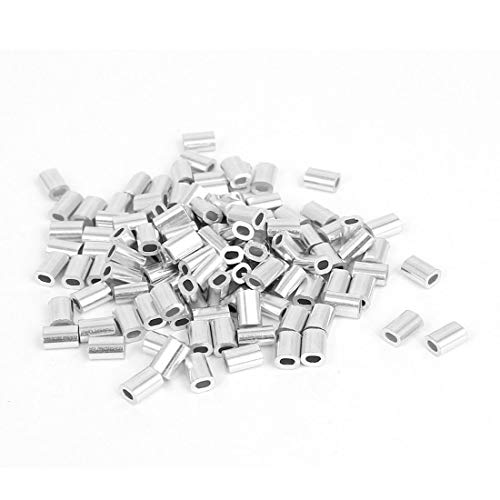 Best Buy! 0.8mm 1/32-inch Wire Rope Aluminum Ferrules Sleeves Silver Tone 150