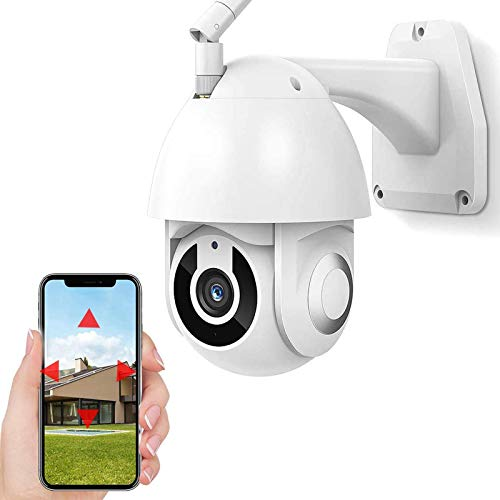 Cámara de vigilancia para exteriores Cámara de seguridad WiFi,Cámara IP PTZ CCTV 1080P HD,IP66 impermeable,visión nocturna,voz de 2 canales,seguimiento de movimiento,alarma (Cámara+tarjeta TF de 64G)