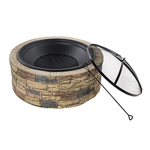 JIACTOP Round Large Fire Pit for Ground, Patio, Deck, Lawn, Outdoor or Campsite Fire Pits