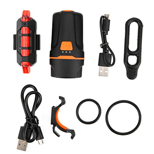 Dilwe Bike Bicycle Rear Light Set, Tail Light USB Chargeable Mount Cycling Safety Warning Taillight 6 Mode Night Riding Accessory