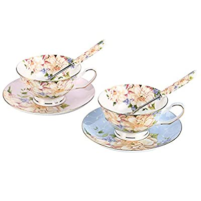 JinGlory Tea Cups,Floral Tea Cups and Suacers Set,Bone China Tea Set of 2,Coffee Cups,Tea Set for Adults/Friends/Lover,7OZ(Blue/Pink)