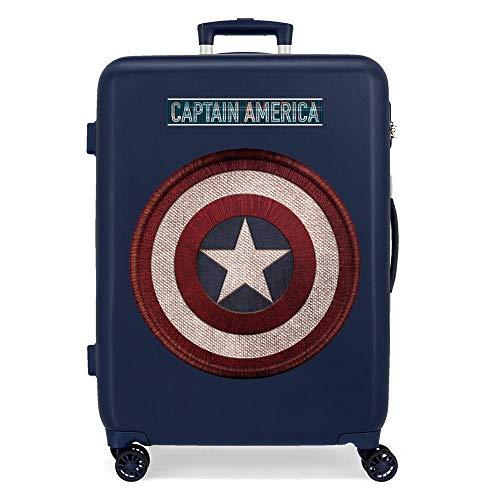 Marvel Los Vengadores Captain America Maleta Mediana Azul 48x68x26 cms Rígida ABS Cierre combinación 70L 3,7Kgs 4 Ruedas Dobles