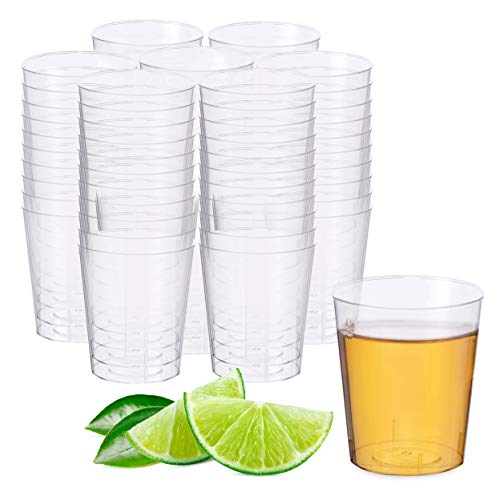 Matana 50 Vasos de Chupito de Plástico Duro Transparente, 60ml - Resistente