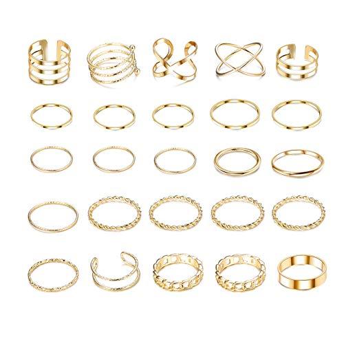 YADOCA 25 Stück Knuckle Ringe Set für Damen Mädchen Mode Finger Stapelbar Ringe Joint Nagel Vintage Midi Ring Silber Gold Böhmischen Modeschmuck Geschenke